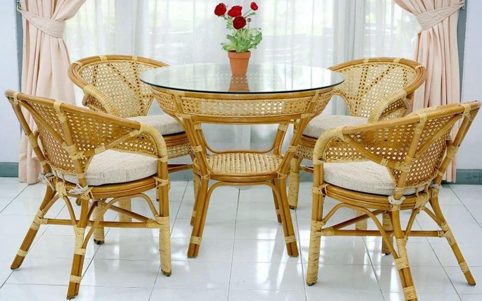обеденный комплект из натурального ротанга, комплект мебели из натурального ротанга