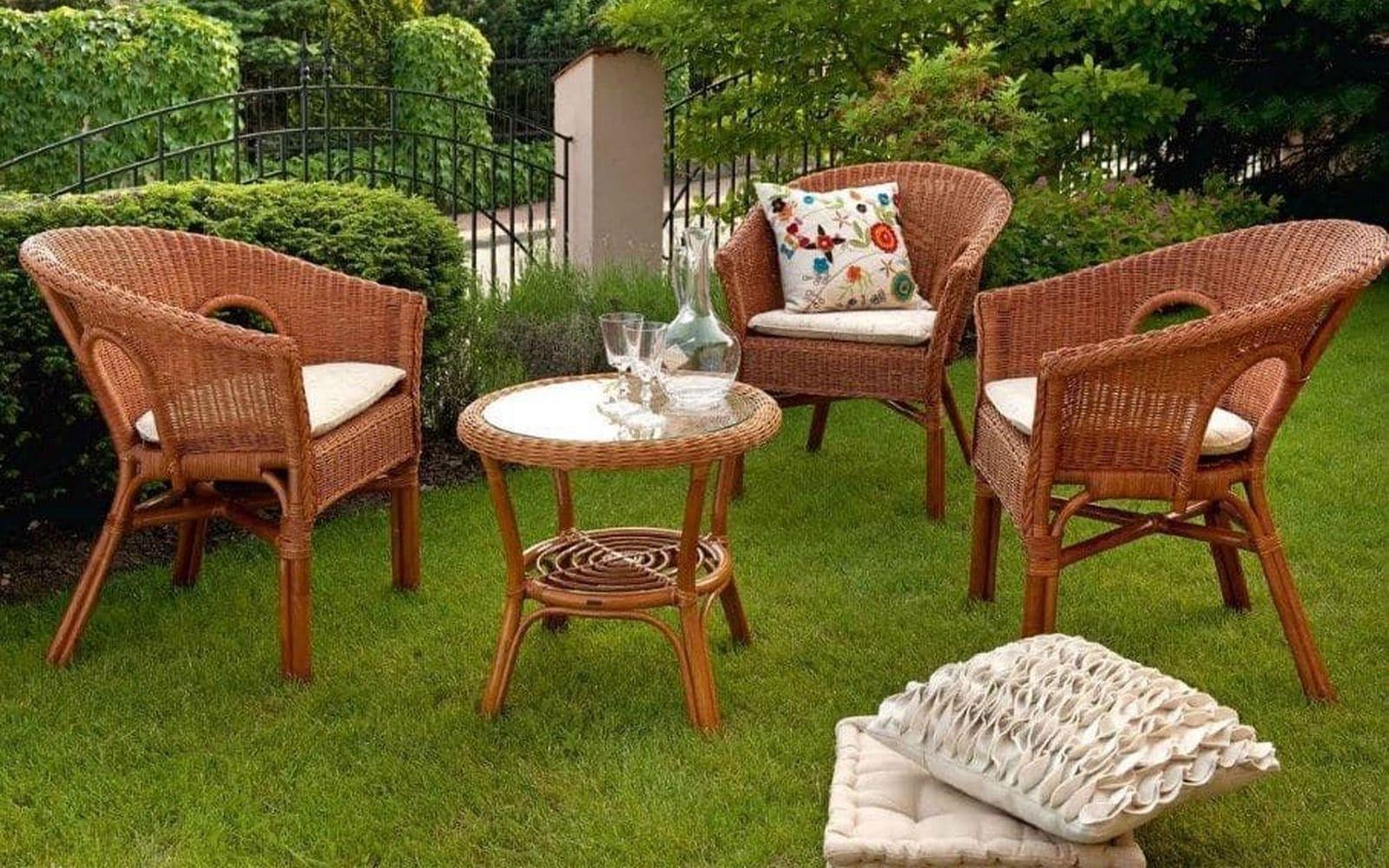 мебель из ротанга на веранде, мебель из ротанга для сада