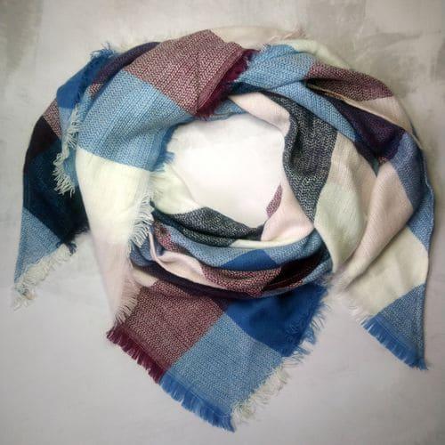Шарф плед трикутний в клітку рожево-блакитний