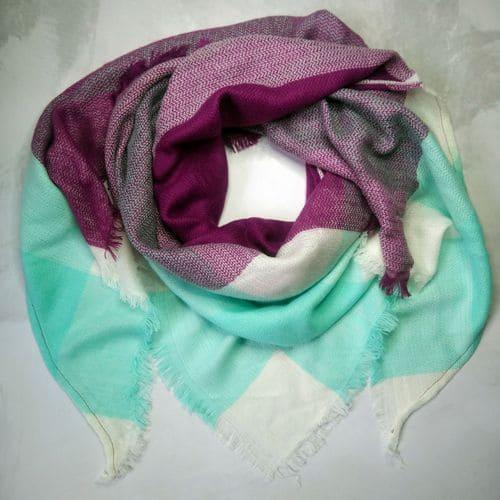 Шарф плед треугольный в клетку фиолетово-бирюзовый