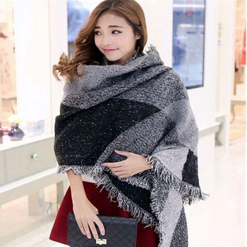 Большой кашемировый шарф шаль полушерстяной 230x70 см
