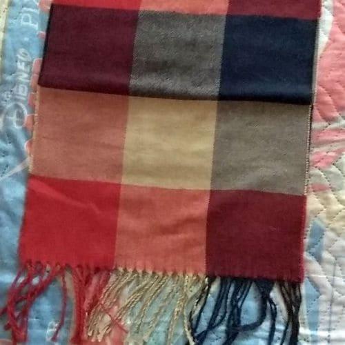 Женский клетчатый шарфик кашемировый 190x35 см