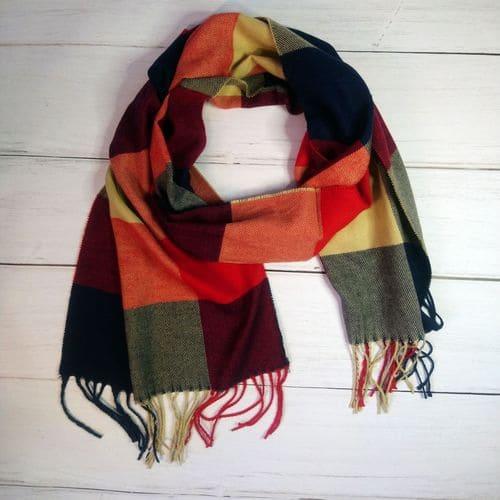 Жіночий картатий шарфик з кашеміру