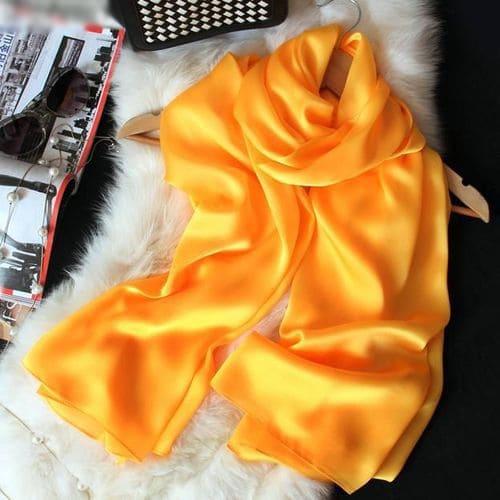 Желтый шелковый шарф платок 180x90 см