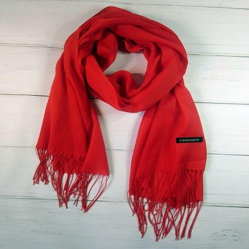Кашемировый шарф шаль с кисточками красный 190x70 см